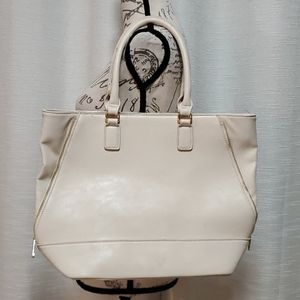 Forever 21 Ivory Tote Purse With Gold Hardware